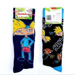 🆕 Hey! Arnold Gerald Bros Nickelodeon Crew Socks